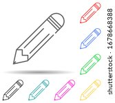 pencil multi color set icon....