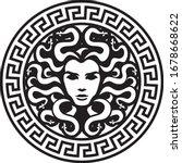 black head medusa circle logo   Shutterstock .eps vector #1678668622