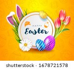 happy easter card with white...   Shutterstock .eps vector #1678721578