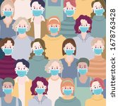 people with mask to protect... | Shutterstock .eps vector #1678763428