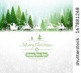 santa claus rides in a reindeer ... | Shutterstock .eps vector #167881268