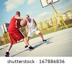 two basketball players on the... | Shutterstock . vector #167886836