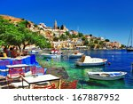 greek holidays. symi island | Shutterstock . vector #167887952