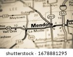 Mendota. Illinois. USA on a map