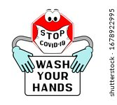 stop covid 19. hand washing... | Shutterstock .eps vector #1678922995