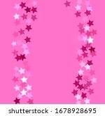 White, pink, red, burgundy stars on bright pinky background. Light pinky transparent stars confetti. Abstract mess of multicolored stars on bright pink background. Pinky childish stars. - stock photo