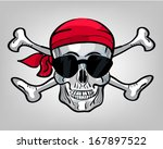 hand drawn pirate skull with... | Shutterstock .eps vector #167897522