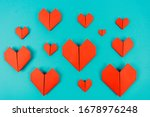 Origami Hearts Made Of Paper O...