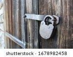 Old Rusty Lock On Barn Doors
