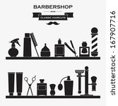 Barber shop vintage symbols in set