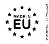 made in eu black text and stars.... | Shutterstock .eps vector #1679093605
