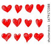 collection set of doodle hearts ... | Shutterstock .eps vector #1679172388