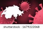 Switzerland map with corona virus background, Virus spreads from Wuhan, China to others countries worldwide, Spread of the corona virus, new Corona virus