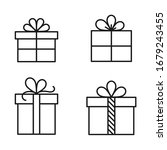 gift box outline flat icons....