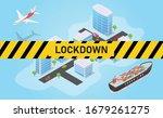 city lockdown for coronavirus... | Shutterstock .eps vector #1679261275