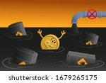 rand sinks in petroleum. coin... | Shutterstock .eps vector #1679265175