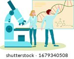 dna laboratory research ... | Shutterstock .eps vector #1679340508