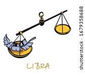 libra zodiac sign flat cartoon... | Shutterstock .eps vector #1679358688