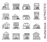 Farm Water Mill Icons Set....