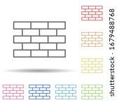 brick in multi color style icon....