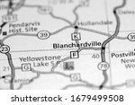 Blanchardville. Wisconsin. USA on a map