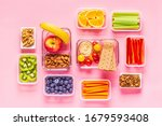healthy snack on a pastel... | Shutterstock . vector #1679593408