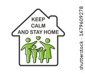 keep calm and stay home concept ... | Shutterstock .eps vector #1679609278