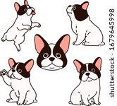 set of outlined french bulldog...   Shutterstock .eps vector #1679645998