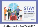 family people stayed at home to ... | Shutterstock .eps vector #1679752342