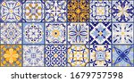collection of 18 ceramic tiles... | Shutterstock .eps vector #1679757598