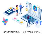 isometric hr manager  we hire... | Shutterstock .eps vector #1679814448
