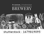 beer glass mug and hop design... | Shutterstock .eps vector #1679819095