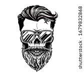 hipster skull with bearded...   Shutterstock .eps vector #1679832868