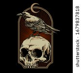 Crow With Skull Vector...