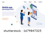 mobile app designers man and...   Shutterstock .eps vector #1679847325