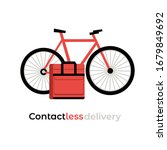 no contact food delivery riding ... | Shutterstock .eps vector #1679849692