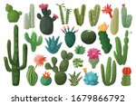 Cactus Isolated Cartoon Set...
