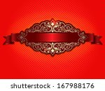 invitation or wedding card with ... | Shutterstock .eps vector #167988176