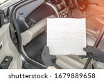 Small photo of Women driver remove air filter in cooling system by myself check dust and amiss in Cabin of car service concept