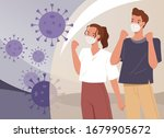 couple wearing face masks. man... | Shutterstock .eps vector #1679905672