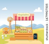showcase on road with farm...   Shutterstock .eps vector #1679907505
