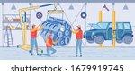 cartoon technician in uniform... | Shutterstock .eps vector #1679919745