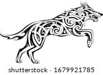wolf tattoo in traditional... | Shutterstock .eps vector #1679921785