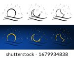 moon and sea hand drawn. vector ... | Shutterstock .eps vector #1679934838