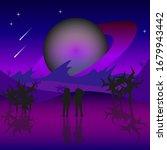 space landscape. two astronauts ... | Shutterstock .eps vector #1679943442