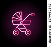 pushchair of baby neon icon....