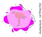 flamingo colored origami style...