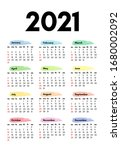 calendar for 2021 isolated on a ... | Shutterstock .eps vector #1680002092