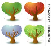 set of four stylized trees in...