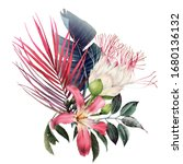 bouquet with tropical flowers... | Shutterstock . vector #1680136132